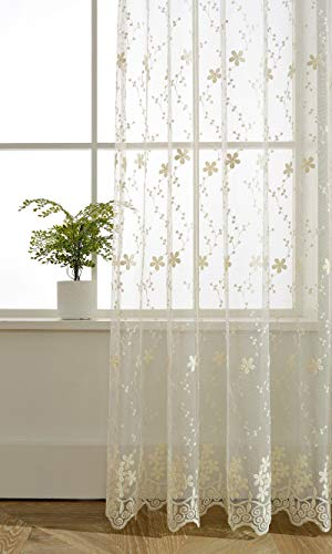 ZZCZZC 2 Pack - Fresh Transparent Sheer Organza Voile Curtains Rod Pocket Top Pastoral Floral Tulle Sheer Panels Living Room Window Drape Embroidered Beige Lace Gauze W39 x L84 inch Total W78 inch