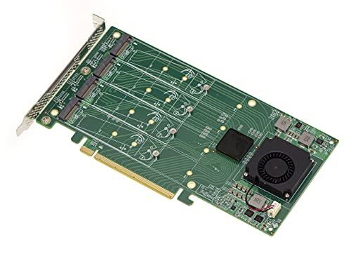 PCIe 3.0 Controller-Karte 16 x für 4 SSD M.2 NVMe M Key (M2 NGFF) Chipsatz PLX PEX 8747-32 GB für jede SSD, 128 G insgesamt.