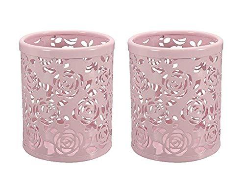 CTKcom 2 Pack Hollow Rose Flower Pattern Metal Pen Pencil Pot Cup Holder Desk Container Organizer,2 Pieces,Pink