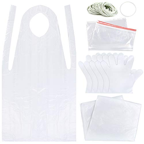 Sntieecr 131 Pieces DIY Tie Dye Kit, T-Shirt Fabrics Tie-dye Kits for Kids Adult Party Group, Including Disposable Aprons, Rubber Bands, Plastic Gloves, Sealed Bags and Plastic Tablecloth