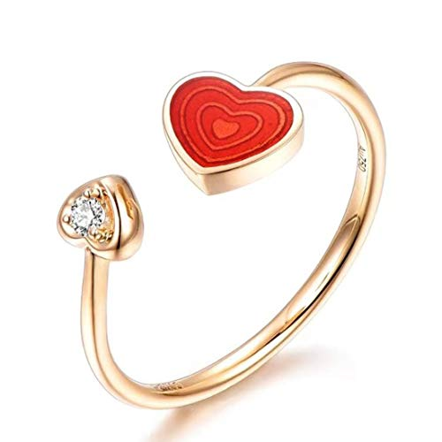 IGI Certified RVLA Romance Victory 18k Solid Rose Gold Natural Diamond Red Enamel Ring (0.02ct, G-H color, VS2-SI1 Clarity), size 8