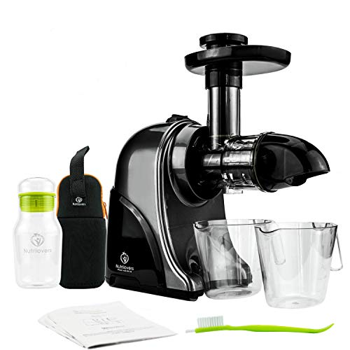 GREEN-PRESS Horizontaler Slow Juicer | Ideal für 𝗞𝗿ä𝘂𝘁𝗲𝗿, 𝗦𝗲𝗹𝗹𝗲𝗿𝗶𝗲 - 𝐒𝐞𝐥𝐥𝐞𝐫𝐢𝐞𝐬𝐚𝐟𝐭, 𝗪𝗲𝗶𝘇𝗲𝗻𝗴𝗿𝗮𝘀 | Elektrischer Entsafter Gemüse & Obst | Trinkflasche + Saft Rezepte