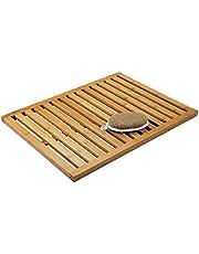 mDesign Antislip bamboemat voor binnen en buiten, rechthoekige badmat van bamboe in lattendesign, milieuvriendelijk en modern badkameraccessoire voor badkuip of douche, bruin