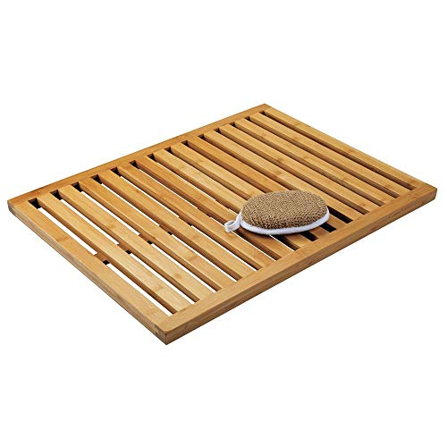 mDesign 100% Bamboo Non-Slip Large Rectangular Spa Bath Mat - for Bathroom Showers, Bathtubs, Floors - Slatted Design, Eco-Friendly - Indoor and Outdoor Use - Natural Light Wood