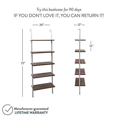 Nathan James Theo 5-Shelf Wood Modern Bookcase, Open Wall Mount Ladder Bookshelf with Industrial Metal Frame, Light Brown Oak/White