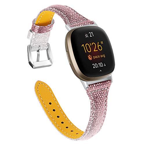 BFISOD Kompatibel mit Versa 3, Echtes Leder Frauen Männer Schlankes Armband Uhrenarmband Ersatz Fitness Band Armband Kompatibel für Fitbit Versa 3 / Versa Sense (A02)