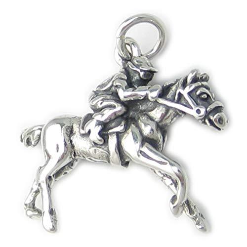 Jockey de caballo a presión Race de plata de ley 925 para pulsera. 1 x colgantes Racing DKC9698