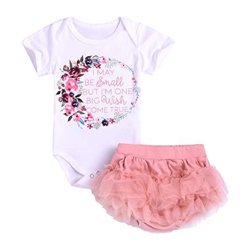 Borlai Neugeborenes Baby Mädchen Outfit Brief Strampler Mesh Kurze Hose Rosa Kleinkind Sommerkleidung Süße Kinderanzüge Set 0-24M, 2PCS (0-6 Monate)