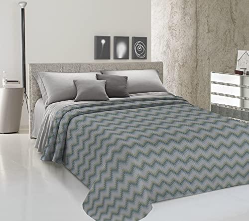 HomeLife Frühlings-Sommer-Tagesdecke aus Piqué [220 x 280] Made in Italy | Decke für französisches Bett aus Baumwolle mit geometrischem Muster | Tagesdecke für französisches Bett | Grün