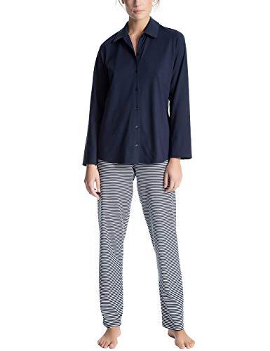 Calida Damen Soft Jersey Fun Lang Pyjama, Blau (Peacoat Blue 488), 36 (Herstellergröße: XS)