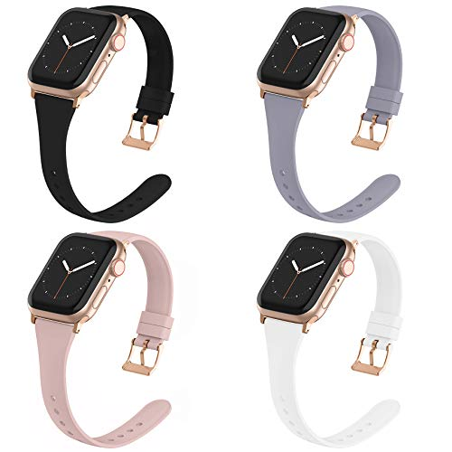 Compatible with Apple Watch Bands 38mm 40mm for Women Men, Adepoy Soft Silicone Narrow Slim Replacement Sport Wristbands for iWatch Series 6 5 4 3 2 1 SE, Small Black Lavender-Gray Pink White
