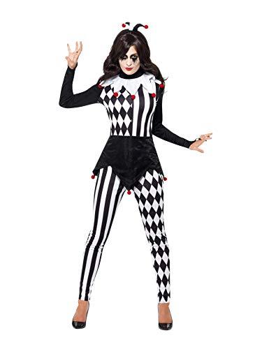 SMIFFYS Costume Femminile Jester, Nero, con Top, Legging e Cerchietto