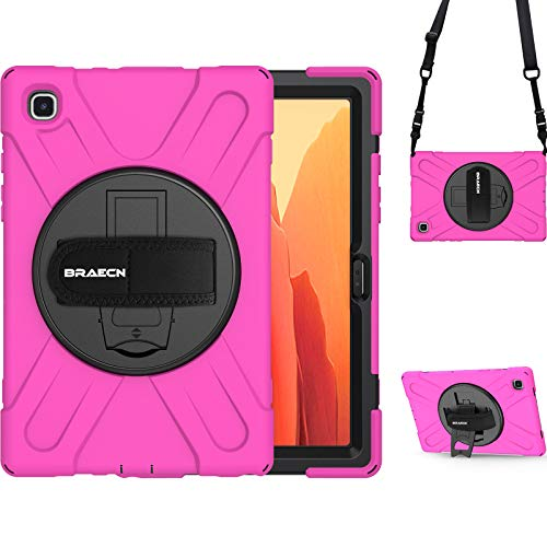 BRAECN Samsung Tab A7 Case 2020, Rugged Shockproof Heavy Duty Case with Shoulder Strap, Hand Strap, Built-in Kickstand for Samsung Galaxy Tab A7 10.4 Inch 2020 Model SM-T500 T505 T507-Pink