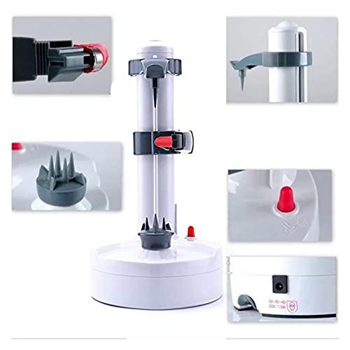 FSLLOVE FANGSHUILIN Multifunktions-Edelstahl elektrischer Schäler Automatischer Fruchtschäler Gemüseschneider DREI Ersatzklingen Kartoffelschäler Maschine (Color : White)
