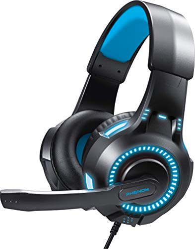 Evo Core Phenom EXP09 Gaming-Headset mit Boom-Mikrofon, kompatibel mit Xbox, PC, PS4 und Mobilgeräten blau