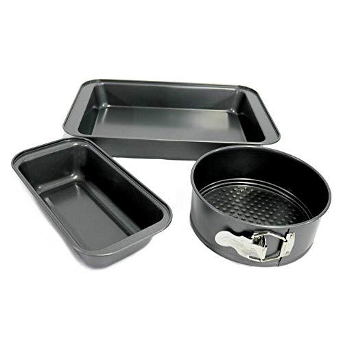 3-Piece Bakeware Set – Roasting Pan, Loaf Pan, Round Spring Form Pan Baking provides Kitchen equipment Cookie sheet Dish set Baking pan Bakeware units Muffin pan Cake pan Baking pans