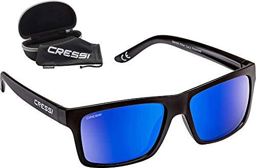 Cressi Bahia Flotantes Sunglasses Gafas De Sol Deportivo, Unisex adulto, Negro/Azul Lentes espejados