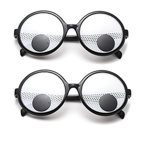 kekafu 2 Pcs Funny Eye Glasses Googly Eyes Glasses Shaking Eyes Glasses Funny Eyewear for Party Favor Men Kids