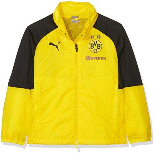 PUMA Kinder BVB Rain Top Hood with Sponsor Logo Regenjacke, Cyber Yellow Black, 164