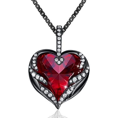 CRYSLOVE Muttertagsgeschenk Herz Kette Halskette für Damen Frauen Angel Wing Halskette mit Rot Kristallen Anhänger,Geschenkbox für Schmuck