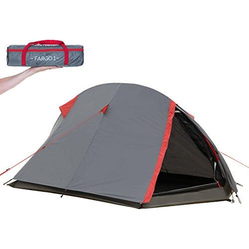 JUSTCAMP Fargo 1, 1-2 Mann Zelt, Tunnelzelt, Leicht (2700g), Kleines Packmaß, Campingzelt, Zelt für Festival, Trekkingtour