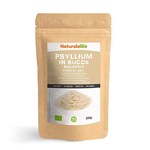 Tégument de Psyllium Blond BIO [Pureté 99%] de 200g. Psyllium Husk Biologique, Naturel et Pur. 100% Cosses de Graines de Psyllium Indien. Riche en fibres, à consommer dans l'eau, boissons ou jus.