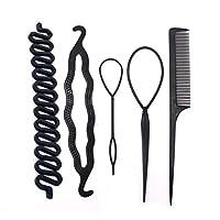 ヘアピン マルチスタイルDIYヘアスタイルツール女性マジックドーナツ髪のパンメーカー編みねじれヘアクリップディスクプルヘアピンヘアアクセサリー (Color : 5pcs Style I)