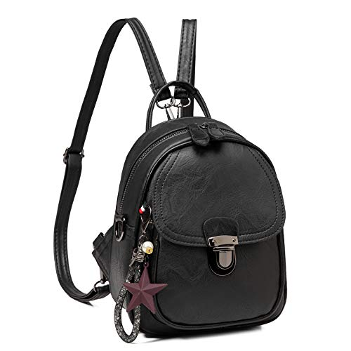 Mini Backpack for Women, Kasgo Cute 3 Ways to Carry Fashion Small Backpacks for Girls with Detachable Straps, Black