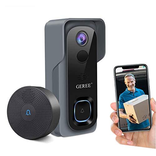 Video Doorbell Camera Wireless WiFi Smart Doorbell,32GB Preinstalled,GEREE 1080P HD Security Home...