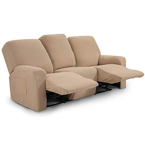 TIANSHU Funda reclinable para sofá de Dos plazas, 8 Piezas para 3 Asientos, Funda reclinable de Jacquard para sofá de 3 Cojines, Funda elástica para sofá(Sillón Relax 3 Plaza, Arena)