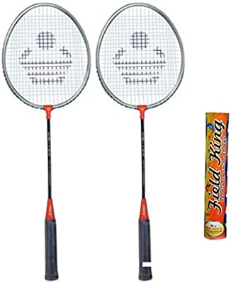 CB-120 Badminton Racket Pair with Field King Badminton Shuttle Cock (Pack of 10)- Badminton Kit
