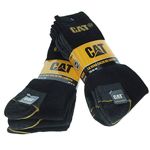 CAT Caterpillar Herren Universal Arbeitssocken, 3|6|9|12 Paar wahlweise, in Schwarz, Blau, Grau und 41-45 | 46-50, Socken (41-45, 6 Paar Schwarz)