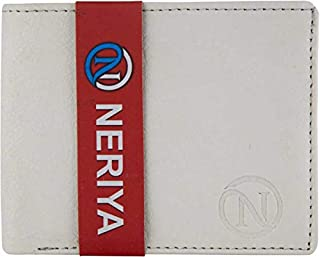 NERIYA Men's White Genuine Leather Wallet (5 Card Slots)