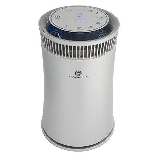 SilverOnyx Air Purifier with True HEPA Carbon Filter, UV Light, Ionizer. Best Home Air Cleaner for Allergies and Pets, Smoke, Dust, Mold, Smokers. Powerful Small to Large Room 500 sq ft. Silver