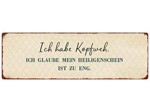 Interluxe METALLSCHILD Blechschild ICH Habe KOPFWEH Heiligenschein Spruch Vintage