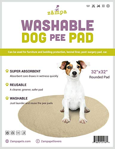 Zampa Pets Quality Whelp Round, Circular Shape Reusable Dog Pee Pads/Quilted, Fast Absorbing Dog Whelping Pad/Waterproof Puppy Training Mats/Machine Washable, Great for Playpen (32 Round)