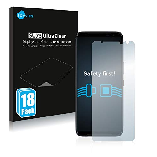 Savvies 18x Schutzfolie kompatibel mit Asus ROG Phone 3 Strix Bildschirmschutz-Folie Ultra-transparent