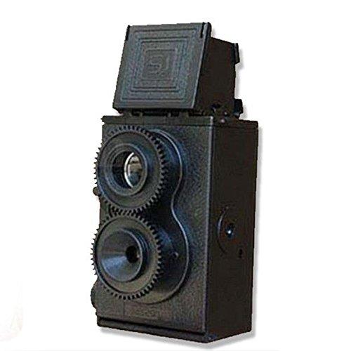 Cámara réflex de Doble Lente DIY TLR de 35 mm, cámara Vintage Negra, cámara de película Retro Negra