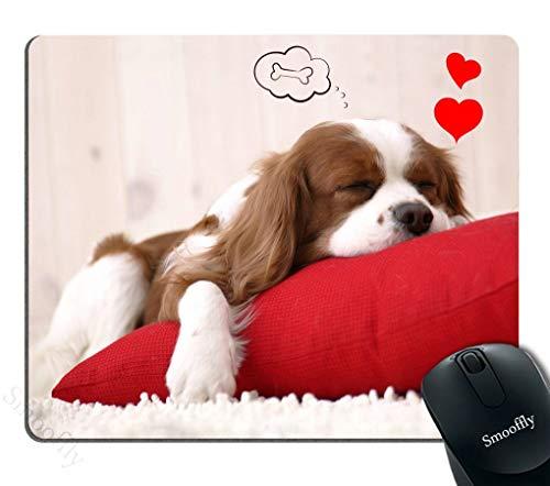 Funny Dog Mouse Pad Rood, Leuke puppy slapen op een kussen dromen van een bot Persoonlijkheid Desings Gaming Mouse Pad