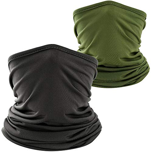 WTACTFUL 2 Pack - Lightweight Soft Neck Gaiter Neck Warmer Face Mask Windproof Protection Cover for Motorcycle Cycling Fishing Hunting Hiking Riding Climbing Ski Snowboard Outdoor Sports Black Green