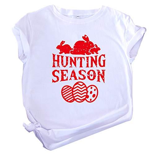 Judeyuan Camiseta de Pascua para Mujer, Tallas Grandes de Pascua de Manga Corta con Cuello en O de Impresión Blusa Informal Tops de Camiseta Blanco XXXXXL 2021 Último