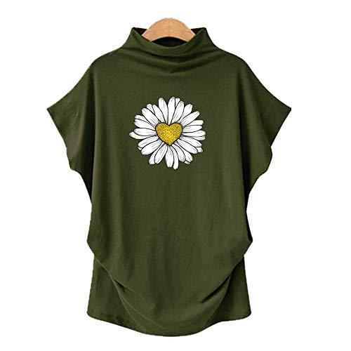 DREAMING-Übergroßes Rollkragenpullover Für Frauen Mit Rollkragen Und Kurzarm-T-Shirt + Print Armeegrün M