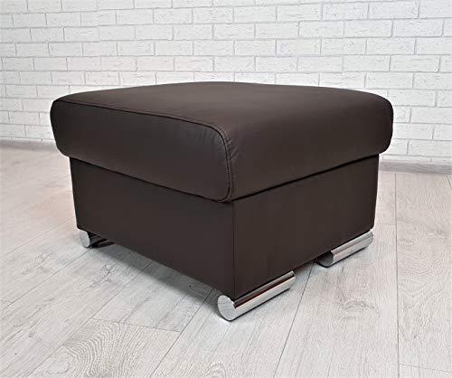 Quattro Meble Dunkelbraunes Echtleder Hocker aufklappbar mit Stauraum Sitzhocker Rindsleder Sitzwürfel 60x55 Fußhocker Polsterhocker Echt Leder Puff Leder MDR Dark Brown
