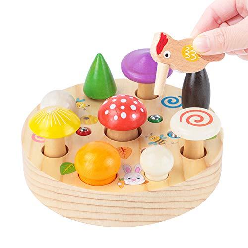 XIAPIA Montessori Juguetes Niños Aprendizaje,Juegos Educativos de Setas Infantiles Ejercicio de Memoria Regalos para Niños Actividades de Pesca con Imán