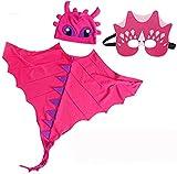 Dinosaurios Disfraz de dibujos animados Cosplay Halloween Capa de Halloween + Cara de cara + Sombrero Dino Dino Vestido de fiesta for arriba Linda corta sin dientes for niños Girls Fiesta Regalos Jugu