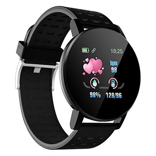 NUNGBE Reloj Inteligente, Reloj Inteligente de frecuencia cardíaca, Correa de muñeca, Reloj Deportivo, Correa de muñeca Deportiva, Adecuado para Android iOS A2 IP67 a Prueba de Agua-Negro