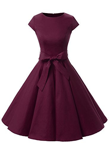 Dressystar DS1956 Women Vintage 1950s Retro Rockabilly Prom Dresses Cap-Sleeve L Burgundy