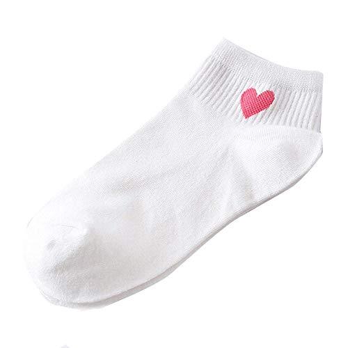 Doublehero Damen Basics Sneaker Socken 5Paar /1Paar Kurze Baumwolle Sportsocken Damensocken Business Socken Liebe Muster Strümpfe Weich Bequem Frühling Sommer Lässige Socken Freizeit, Arbeit (Rosa)
