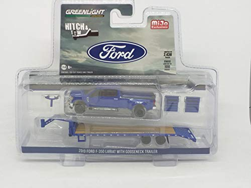 Greenlight Hitch & Tow 2019 Ford F-350 Dually with Gooseneck Trailer (Blue) 1/64 Diecast Car 51307