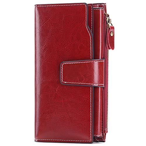 SENDEFN Geldbörse Damen Leder Gross Geldbeutel RFID Schutz Damen Groß Portemonnaie Viele Fächer Lang Portmonee mit 20 Kartenfächer und Handyfach